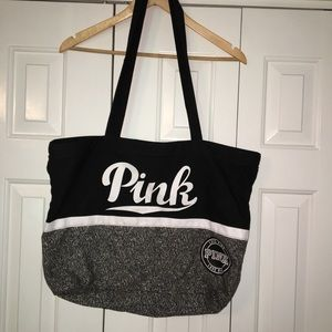 PINK, Black and White Tote